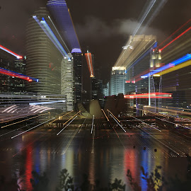 Zoom Out by Steven Goh Robo - Abstract Light Painting ( abstract, skyline, light painting, light )
