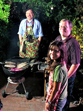 Photo: Jefferson grilling with team-mates Jason and Cathy