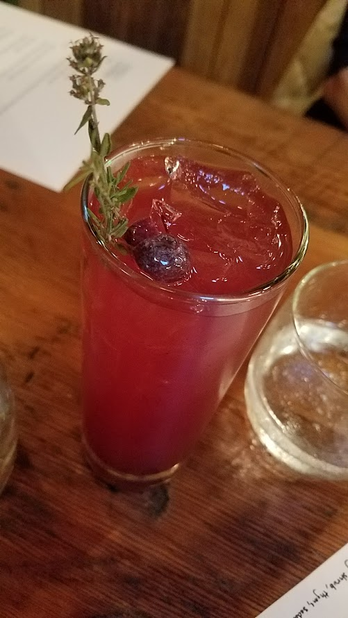 Fimbul PDX offered wine pairings for every course, or you could order wine or drinks a la carte, including this Mocktail of blueberry shrub with thyme and soda.