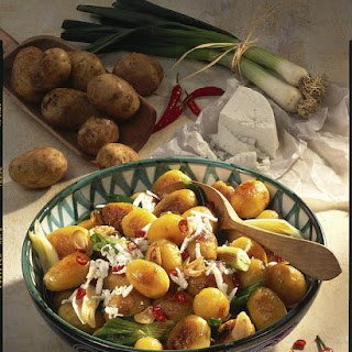 Potatoes with Garlic, Chili and Feta