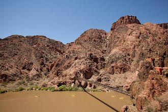 Photo: View from South Kaibab Trail bridge. Rafting the Grand Canyon. Grand Canyon National Park, AZ.