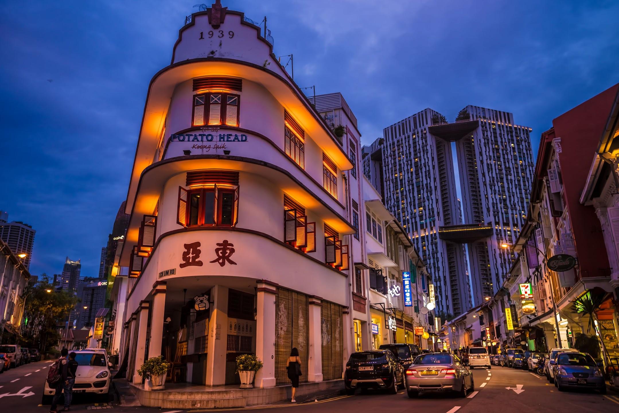 シンガポール 東亜餐館 (Tong Ah Eating House) ライトアップ
