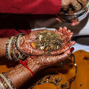 Gujarati Wedding Ceremony by Nathan Muirhead - Wedding Ceremony ( mendhi, hindu, gujarati, hands, wedding, chesham )