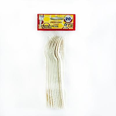 tenedor plastico blanco 20und Plastienvases
