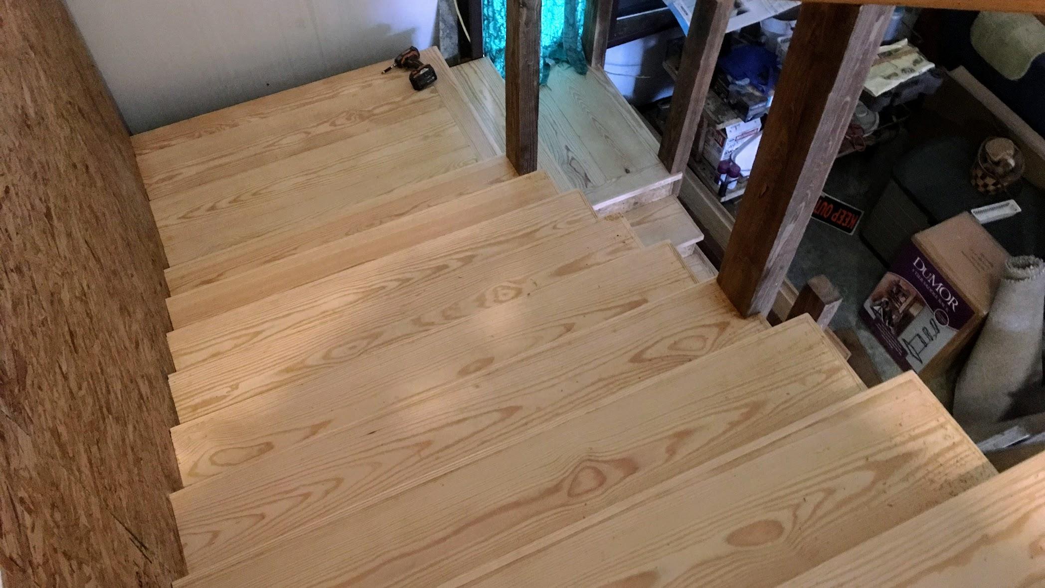 DIY Rustic Pine Stair Treads for a Farmhouse Staircase in a barndominium