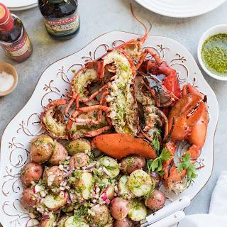 Grilled Chimichurri Lobster and Chimichurri Potato Salad.