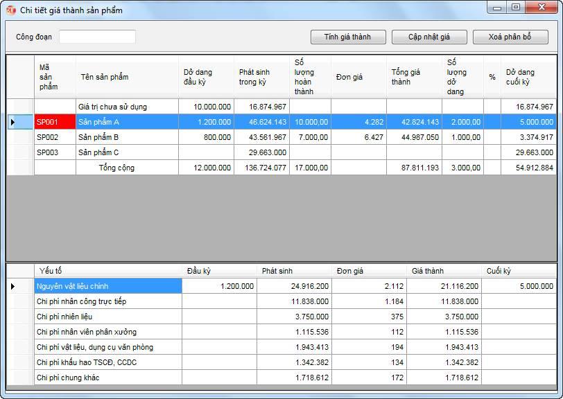 Phân bổ giá thành - tính giá thành phần mềm kế toán 3tsoft