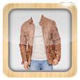 Man Leather Jacket Photo Suit icon