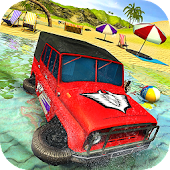 Water Surfer Jeep Driving - Beach Car Racing