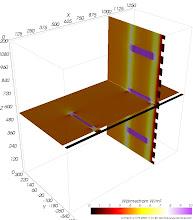 Photo: Wärmestromdichten auf den Schnittebenen (zur Identifikation von Wärmebrücken) Farbskala: Astronomie Werteintervall: 0-10 W/m²