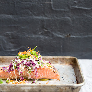 Black Pepper + Lime Baked (wild) Salmon With A Snap Pea Slaw + Crispy Carrots.