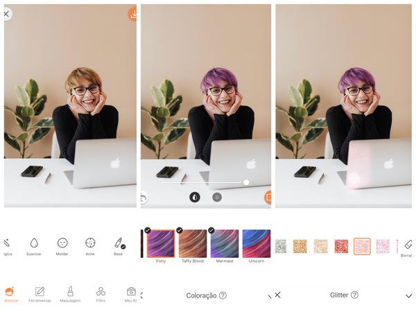 Montagem com 3 fotos da mesma mulher no escritório. Nessa montagem mostra uma edição usando as ferramentas do AirBrush.