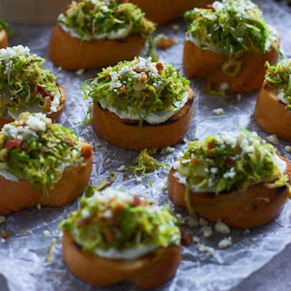 Five Ingredient Brussels Sprout and Bacon Crostini with Whipped Blue Cheese.