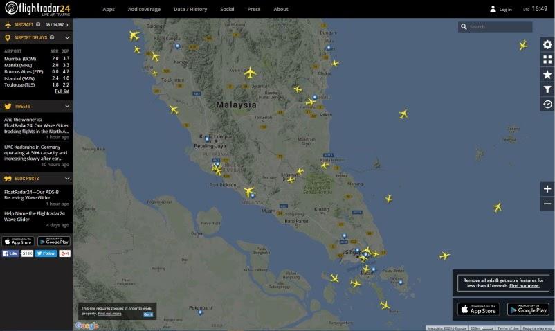 FlightRadar24 sur la Malaisie