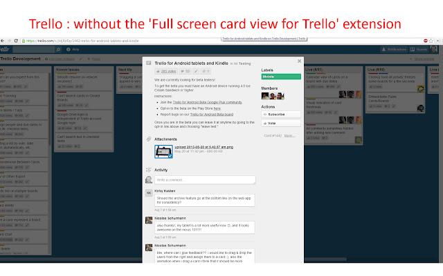 Full screen card view for Trello
