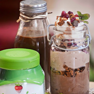 Better-For-You Chocolate Mint Syrup and Greek Yogurt Parfaits