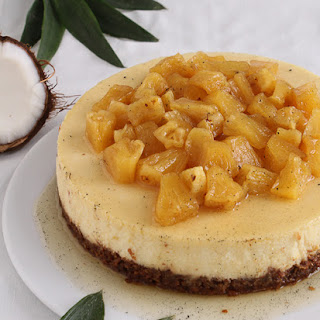Pina Colada Cheesecake with a Macadamia Nut Crust