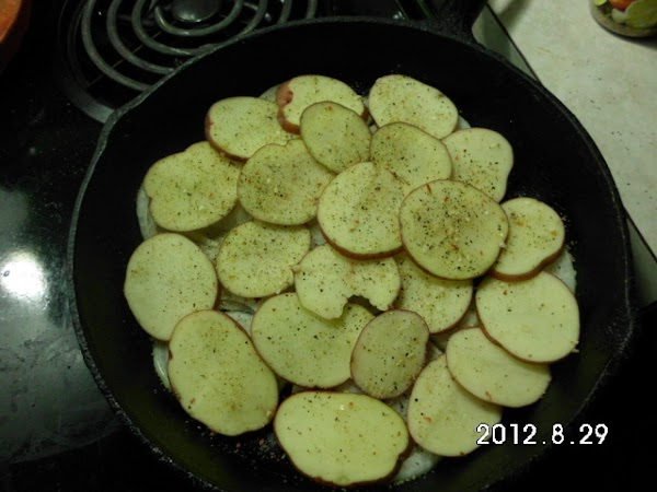 Then I added a generous layer of potatoes, re-seasoned with Mrs. Dash.