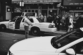 """Photo: This guy was MAD. He had just gotten a ticket,""""for no reason"""", and wanted to be arrested or run over by a car. """"WHAT ABOUT MY FAMILY MAN!!?!?!?!"""" -kept saying that over and over, until a bum came over, pulled out his badge and told him to fight it in court. The cabby continued with his """"I WILL NOT WASTE MY TIME WITH THAT SHIT MAN!!! ARREST ME OR PUT A BULLET IN MY HEAD!!!"""" """"MY FAMILY!!!!"""""""