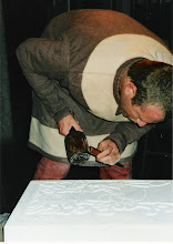 Photo: Here you can see me carving (about to at any rate), the stone in the Museum of London. They have their own example which school children have done rubbings from.