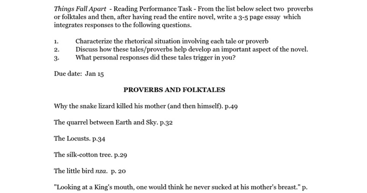 things fall apart proverbs doc google docs