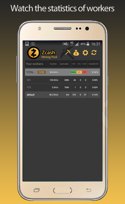 Zcash Flypool Mining Monitor- screenshot