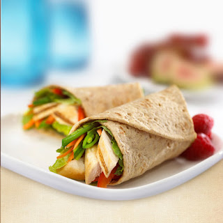 Chicken and Snow Pea Flatbread Wrap.