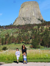 """Photo: The kids knew Devils Tower well, as they watched """"Close Encounters"""". Additionally the Wyoming Guidebook had Devils Tower on every other pages. As if to say """"We're more than Yellowstone"""""""