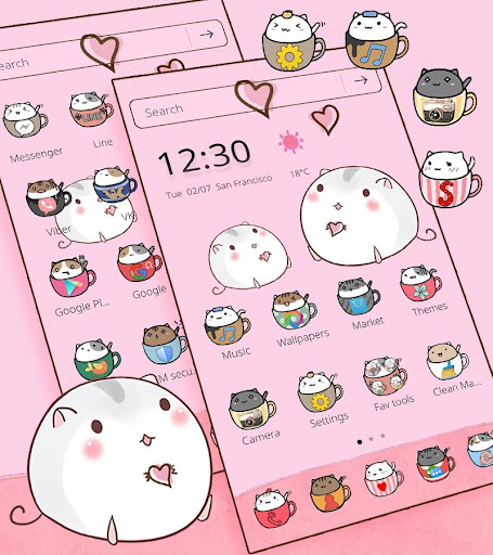 Cute Cup Cat Theme Kitty Wallpaper & icon pack screenshot 2