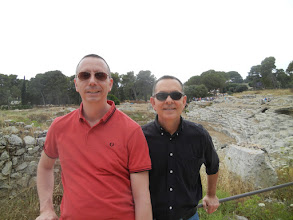 Photo: Chris and I at the Roman Amphitheater, Siracusa.