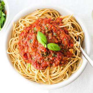 Oven Roasted Tomato Sauce with Spaghetti