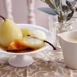 Champagne-Poached Pears with Crème Anglaise.
