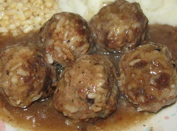 Made From Scratch Porcupine Balls With Gravy.