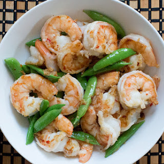 Spicy Shrimp and Snap Peas with Cashew Sauce
