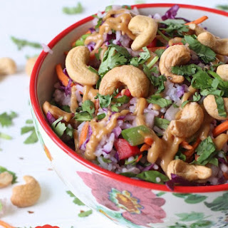 Cold Thai Rice Salad with Spicy Peanut Sauce and Cashews.