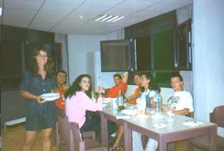 Photo: Italian interns having dinner