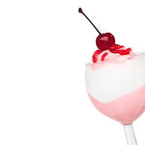strawberry ice cream with cherry in cup by Warren Chirinos Pinedo - Food & Drink Candy & Dessert ( cherry, colors, ice cream, strawberry )
