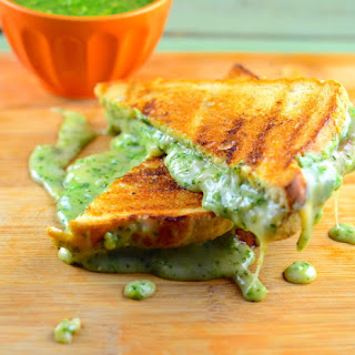 Super Gooey Vegan Grilled Cheese With Roasted Tomatillo Salsa.
