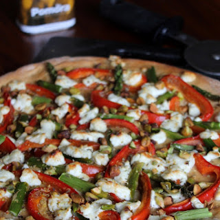 Asparagus, Red Pepper, and Goat Cheese Pizza