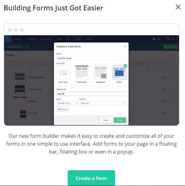 ActiveCampaign form editor