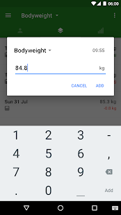 Progression Body & Weight Log Screenshot
