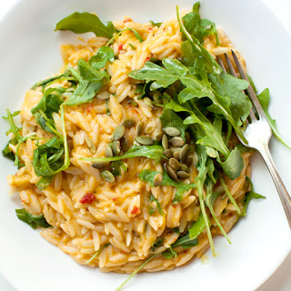 Spicy Cheddar and Pumpkin Orzo with Arugula.