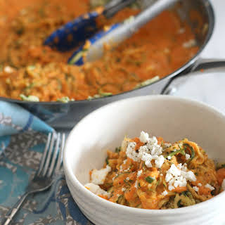 Zucchini Noodles with Roasted Bell Pepper Feta Sauce.