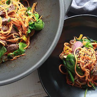 Korean Sweet Potato Noodles with Beef.