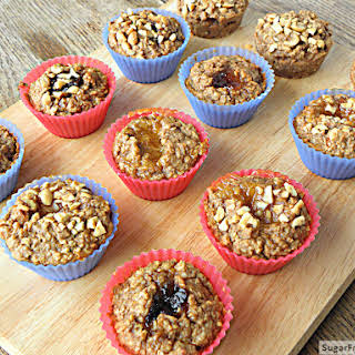 Individual Peanut Butter Banana Jelly Filled Baked Oatmeal {Dairy Free}.