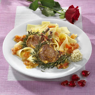 Lamb Chops with Pappardelle in Truffle and Tomato Sauce.