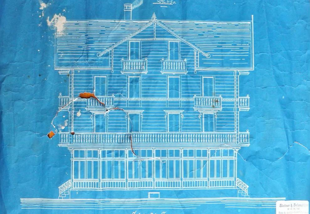 John Herschel cyanotype of house