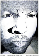 Photo: Ice Cube 8 1/8 in x 9 1/8 in (inside mat) 10 5/8  in x 11 ¾ in (with mat border) India ink on thick cardstock. This was created for a school exhibition when I was seventeen years old.  Still has my info on the back.  ©Marisol McKee