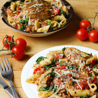 Chicken Pasta with Bacon and Spinach in Creamy Tomato Sauce.