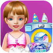 Wash laundry games for girls